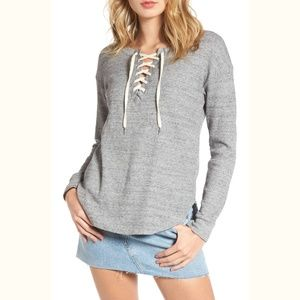 NWT Splendid lace-up waffle thermal tunic top GRAY
